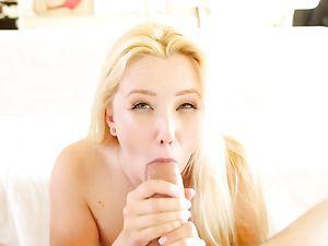 Masturbating Blonde Hottie Wants His Dick Inside Her