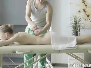 Masseur Fucks His Tight Teenage Client As She Moans