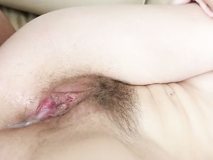 Hot Creampie Drips From Her Hairy Teenage Cunt