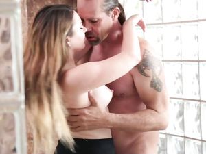 Big Dick Fucks A Creampie Into Her Young Cunt
