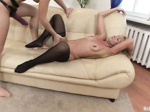 Her Lesbian Holes Are Ready For Big Strapon Fucking