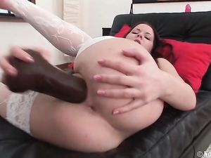 Sexy Patterned Stockings On A Dildo Fucking Teen