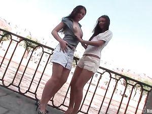 Public Flashing Teens Go Home For Lesbian Sex