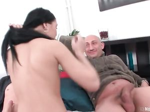 Fat Cock In Her Teen Mouth And Another In Her Pussy