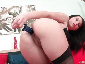 Natural Boobs Girl Bent Over And Anally Toyed