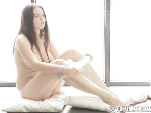 Voluptuous Young Euro Girl Fondles Her Big Titties