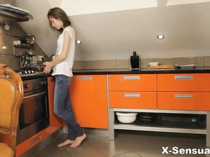 Anal Over The Kitchen Counter With A Teenage Beauty