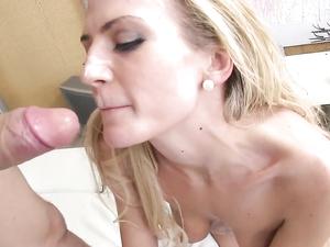 Bendy Blonde Enjoys Sucking This Guys Hard Pecker