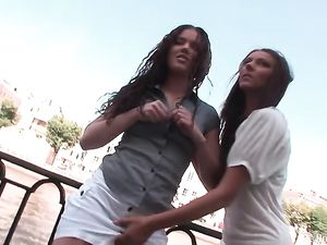 Public Lesbian Play Arouses The Teens To Fuck Each Other