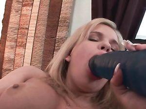 Cunt Lips Stretch Around Big Dildos As She Masturbates