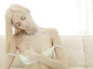 Solo Blonde Romances You In Perfect White Lingerie