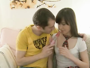 Adorable Teen Schoolgirl Filled With His Fat Dick
