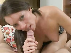 Sloppy Blowjob Before Anal Sex With A Brunette