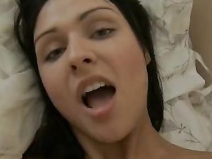 Massaging Her Shaved Pussy With A Sexy Toy