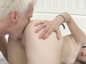 Adorable Brunette Gets Her Shaved Pussy Pounded
