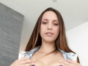 Gorgeous Teen Sucking A Long Dong Before Riding