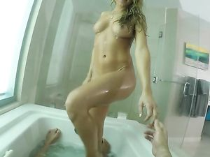 Tits And Ass Teasing Against The Glass Shower Walls