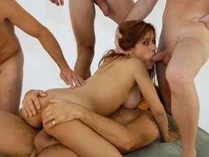 Guys Use Every Hole On The Latina Whore