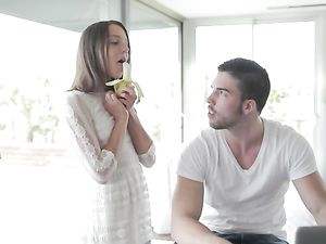 Blowing A Banana Drives Him Crazy For Her Hot Body