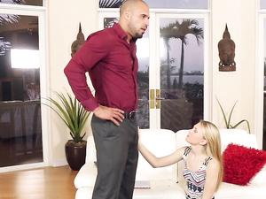 Big Man Fucks The Babysitter And Chokes Her Hard