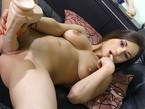 Dancing And Stripping Teen Sits On A Massive Dildo