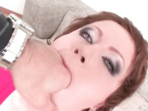 Sloppy Sucking Redhead Gags On His Long Dick